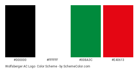 Wolfsberger AC Logo - Color scheme palette thumbnail - #000000 #ffffff #008a3c #e40613