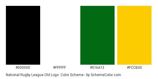 National Rugby League Old Logo - Color scheme palette thumbnail - #000000 #ffffff #016a13 #fccb00
