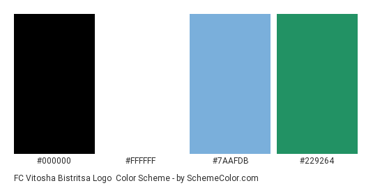 FC Vitosha Bistritsa Logo - Color scheme palette thumbnail - #000000 #ffffff #7aafdb #229264