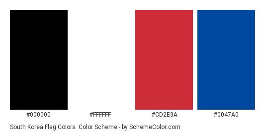 South Korea Flag Colors - Color scheme palette thumbnail - #000000 #ffffff #cd2e3a #0047a0
