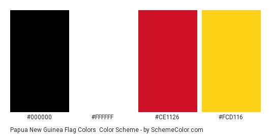 Papua New Guinea Flag Colors - Color scheme palette thumbnail - #000000 #ffffff #ce1126 #fcd116
