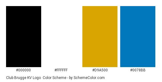 Club Brugge KV Logo - Color scheme palette thumbnail - #000000 #ffffff #d9a500 #0078bb