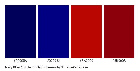 Navy Blue and Red - Color scheme palette thumbnail - #00005a #020082 #ba0600 #8b000b