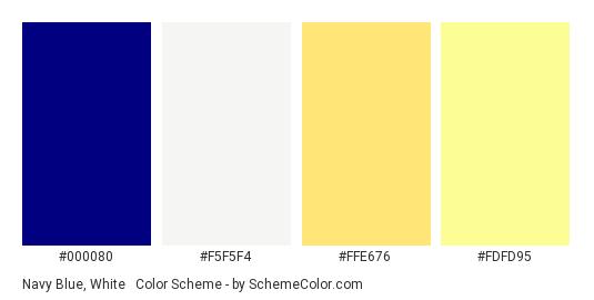 Navy Blue, White & Yellow Pastel - Color scheme palette thumbnail - #000080 #F5F5F4 #FFE676 #FDFD95