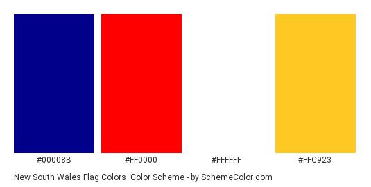 New South Wales Flag Colors - Color scheme palette thumbnail - #00008B #FF0000 #FFFFFF #FFC923