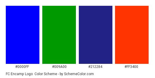 FC Encamp Logo - Color scheme palette thumbnail - #0000ff #009a00 #212284 #ff3400