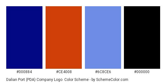 Dalian Port (PDA) Company Logo - Color scheme palette thumbnail - #000884 #ce4008 #6c8ce6 #000000