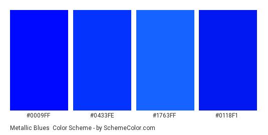 Metallic Blues - Color scheme palette thumbnail - #0009ff #0433fe #1763ff #0118f1