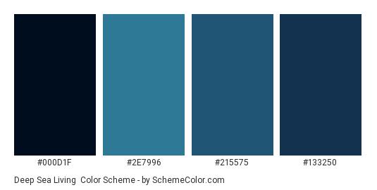 Deep Sea Living - Color scheme palette thumbnail - #000d1f #2e7996 #215575 #133250