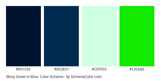 Shiny Green in Blue - Color scheme palette thumbnail - #001330 #002b51 #cdffe0 #12ea00