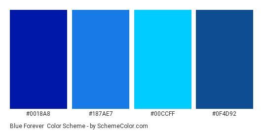 Blue Forever - Color scheme palette thumbnail - #0018A8 #187AE7 #00CCFF #0F4D92