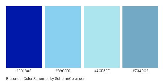Blutones - Color scheme palette thumbnail - #0018A8 #89CFF0 #ACE5EE #73A9C2