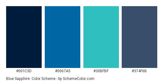 Blue Sapphire - Color scheme palette thumbnail - #001C3D #0067A5 #30BFBF #374F6B