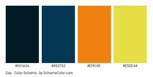 Day & Night Dark - Color scheme palette thumbnail - #001a26 #053752 #ef810e #e5de44