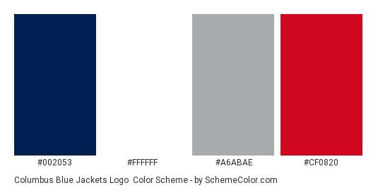 Columbus Blue Jackets Logo - Color scheme palette thumbnail - #002053 #ffffff #a6abae #cf0820