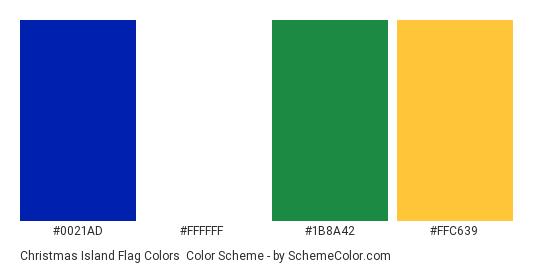 Christmas Island Flag Colors - Color scheme palette thumbnail - #0021AD #FFFFFF #1B8A42 #FFC639