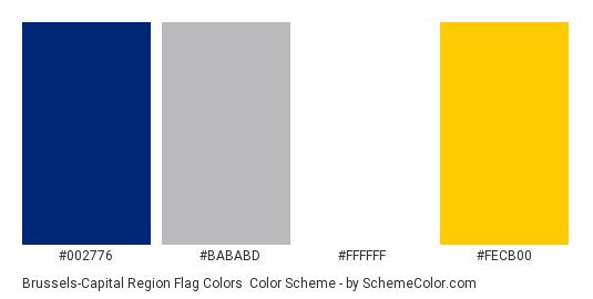 Brussels-Capital Region Flag Colors - Color scheme palette thumbnail - #002776 #bababd #ffffff #fecb00