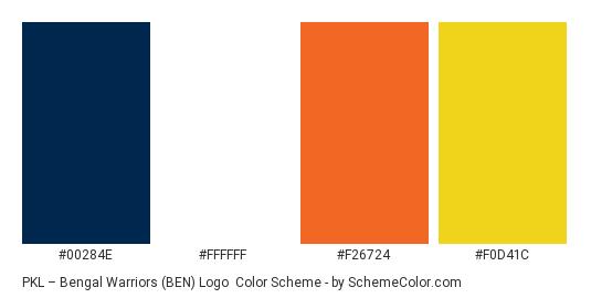 PKL – Bengal Warriors (BEN) Logo - Color scheme palette thumbnail - #00284E #FFFFFF #F26724 #F0D41C