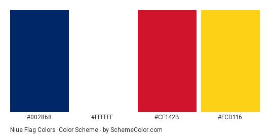 Niue Flag Colors - Color scheme palette thumbnail - #002868 #ffffff #cf142b #fcd116