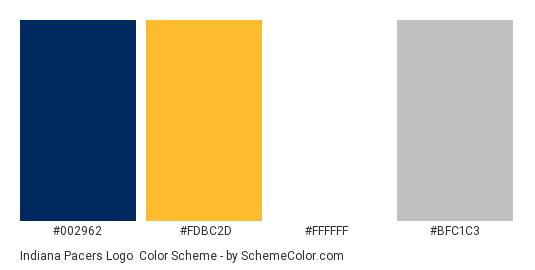 Indiana Pacers Logo - Color scheme palette thumbnail - #002962 #fdbc2d #ffffff #bfc1c3