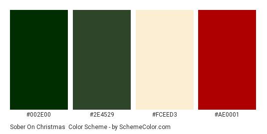 Sober on Christmas - Color scheme palette thumbnail - #002E00 #2E4529 #FCEED3 #AE0001
