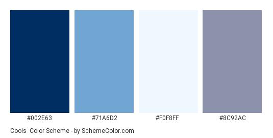 Cools - Color scheme palette thumbnail - #002E63 #71A6D2 #F0F8FF #8C92AC