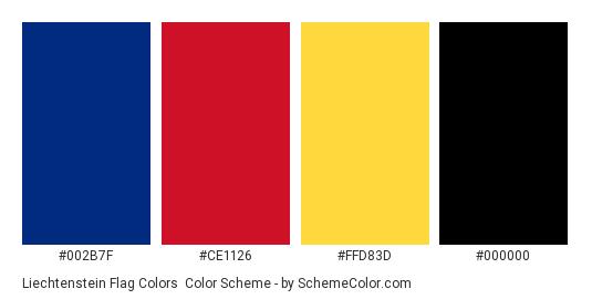 Liechtenstein Flag Colors - Color scheme palette thumbnail - #002b7f #ce1126 #ffd83d #000000