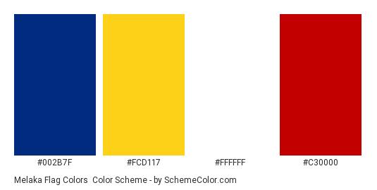 Melaka Flag Colors - Color scheme palette thumbnail - #002b7f #fcd117 #ffffff #c30000
