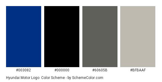Hyundai Motor Logo - Color scheme palette thumbnail - #003082 #000000 #60605B #BFBAAF