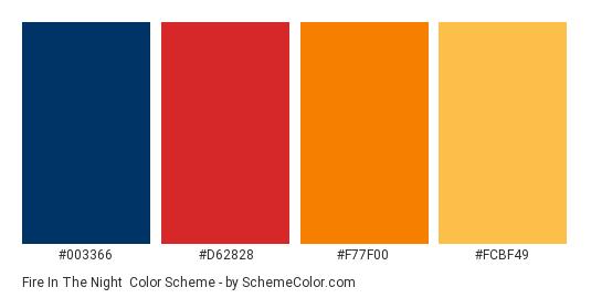 Fire in the Night - Color scheme palette thumbnail - #003366 #d62828 #f77f00 #fcbf49