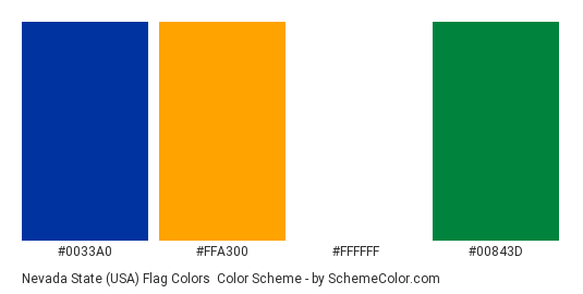 Nevada State (USA) Flag Colors - Color scheme palette thumbnail - #0033a0 #ffa300 #ffffff #00843d