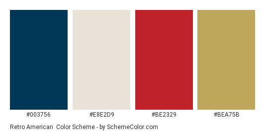 Retro American - Color scheme palette thumbnail - #003756 #e8e2d9 #BE2329 #BEA75B