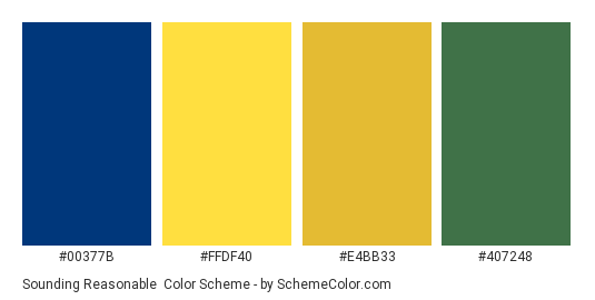 Sounding Reasonable - Color scheme palette thumbnail - #00377b #ffdf40 #e4bb33 #407248