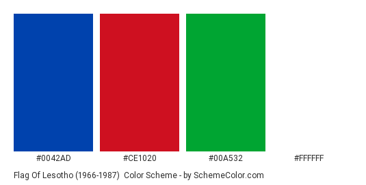 Flag of Lesotho (1966-1987) - Color scheme palette thumbnail - #0042AD #CE1020 #00A532 #FFFFFF
