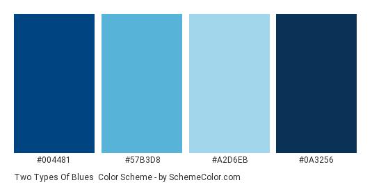 Two Types of Blues - Color scheme palette thumbnail - #004481 #57B3D8 #A2D6EB #0A3256