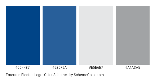 Emerson Electric Logo Color Scheme Palette Thumbnail 004487 285f9a E5e6e7