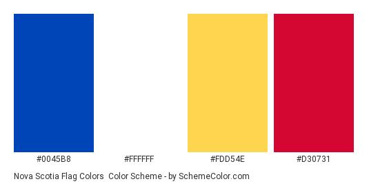Nova Scotia Flag Colors - Color scheme palette thumbnail - #0045b8 #ffffff #fdd54e #d30731