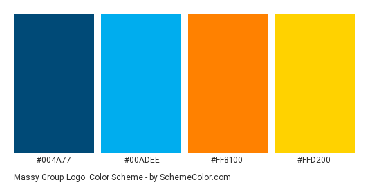 Massy Group Logo - Color scheme palette thumbnail - #004a77 #00adee #ff8100 #ffd200