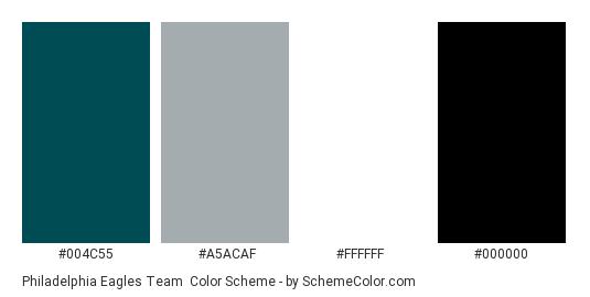Philadelphia Eagles Team - Color scheme palette thumbnail - #004c55 #a5acaf #ffffff #000000