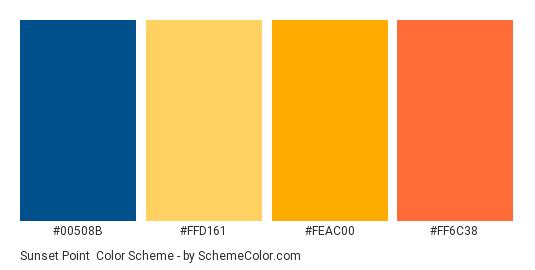 Sunset Point - Color scheme palette thumbnail - #00508B #FFD161 #FEAC00 #FF6C38