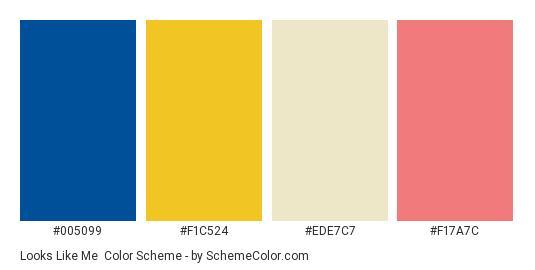 Looks Like Me - Color scheme palette thumbnail - #005099 #f1c524 #ede7c7 #f17a7c