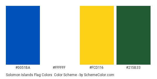 Solomon Islands Flag Colors - Color scheme palette thumbnail - #0051ba #ffffff #fcd116 #215b33