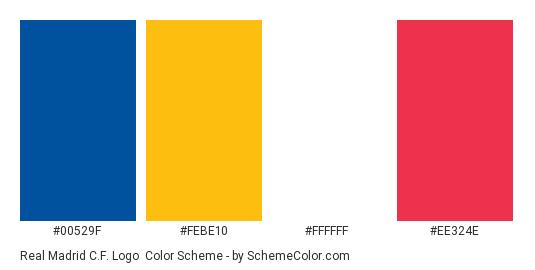 Real Madrid C.F. Logo - Color scheme palette thumbnail - #00529f #febe10 #ffffff #ee324e