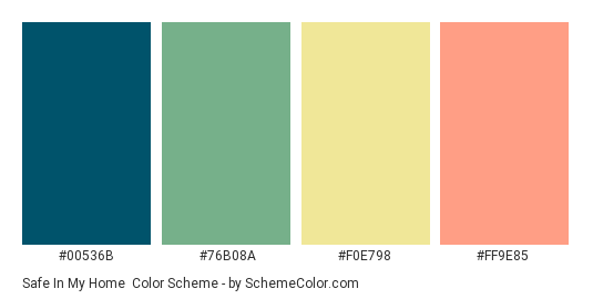Safe in my Home - Color scheme palette thumbnail - #00536B #76B08A #F0E798 #FF9E85