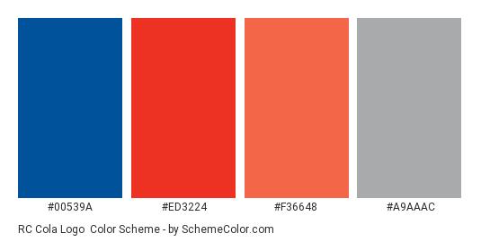 RC Cola Logo - Color scheme palette thumbnail - #00539A #ED3224 #f36648 #a9aaac