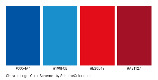 Chevron Logo - Color scheme palette thumbnail - #0054a4 #198fcb #e20d19 #a31127