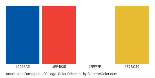 Anorthosis Famagusta FC Logo - Color scheme palette thumbnail - #0055a5 #ef4035 #ffffff #e7bc30