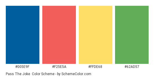 Pass the Joke - Color scheme palette thumbnail - #005E9F #F25E5A #FFDE68 #62AD57