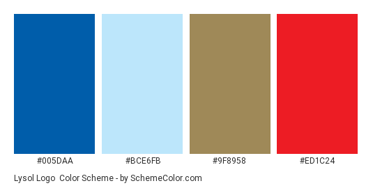 Lysol Logo - Color scheme palette thumbnail - #005daa #bce6fb #9f8958 #ed1c24