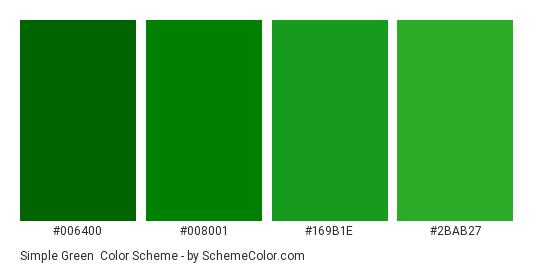 Simple Green - Color scheme palette thumbnail - #006400 #008001 #169b1e #2bab27